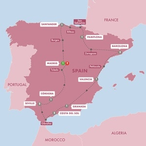 Itinerary map of Best of Spain Summer 2019