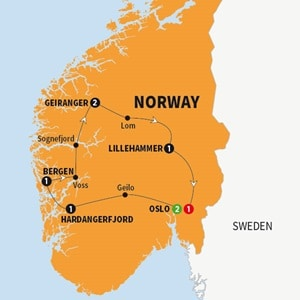 Itinerary map of Best of Norway Summer 2018