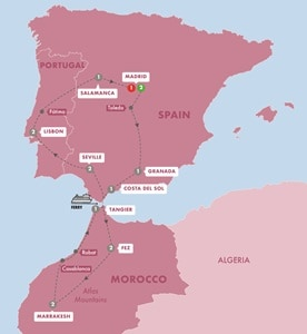 Itinerary map of Spain Morocco and Portugal Summer 2019