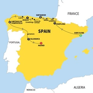 Itinerary map of Northern Spain Summer 18