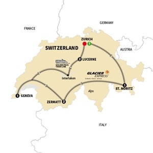 Itinerary map of Contrasts of Switzerland Summer 2018