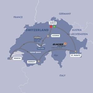 Itinerary map of Contrasts of Switzerland Summer 2019
