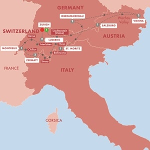 Itinerary map of Switzerland and Austria with Oberammergau Summer 2020