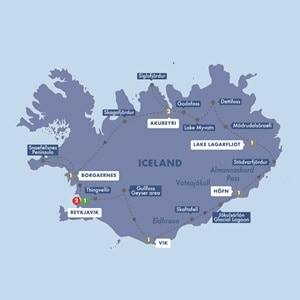 Itinerary map of Ultimate Iceland Summer 2019