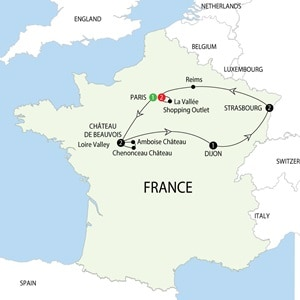 Itinerary map of Enchanting France NEW Enchanting France NEW