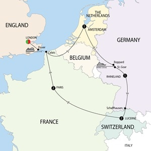 Itinerary map of European Highlights Winter
