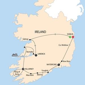 Itinerary map of Irish Highlights Winter 2018-2019