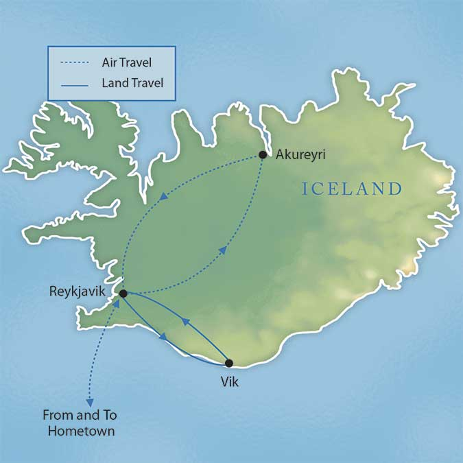 Map for Highlights of Iceland