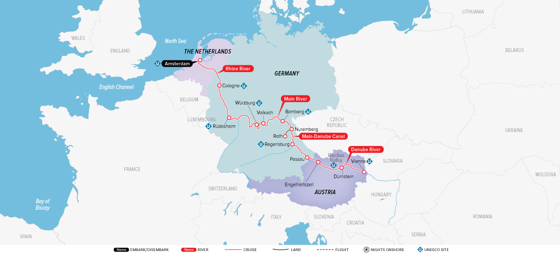 Map for Alluring Amsterdam & Vienna 2019 (Amsterdam to Vienna)