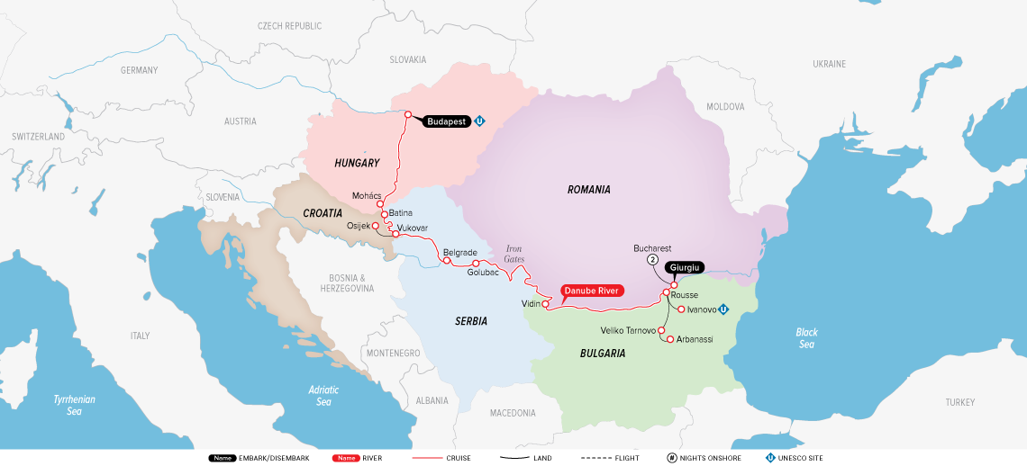 Map for Highlights of Eastern Europe 2019 (Bucharest to Budapest)