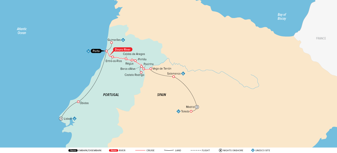 Map for Jewels of Spain, Portugal & the Douro River 2019 (Lisbon to Madrid)