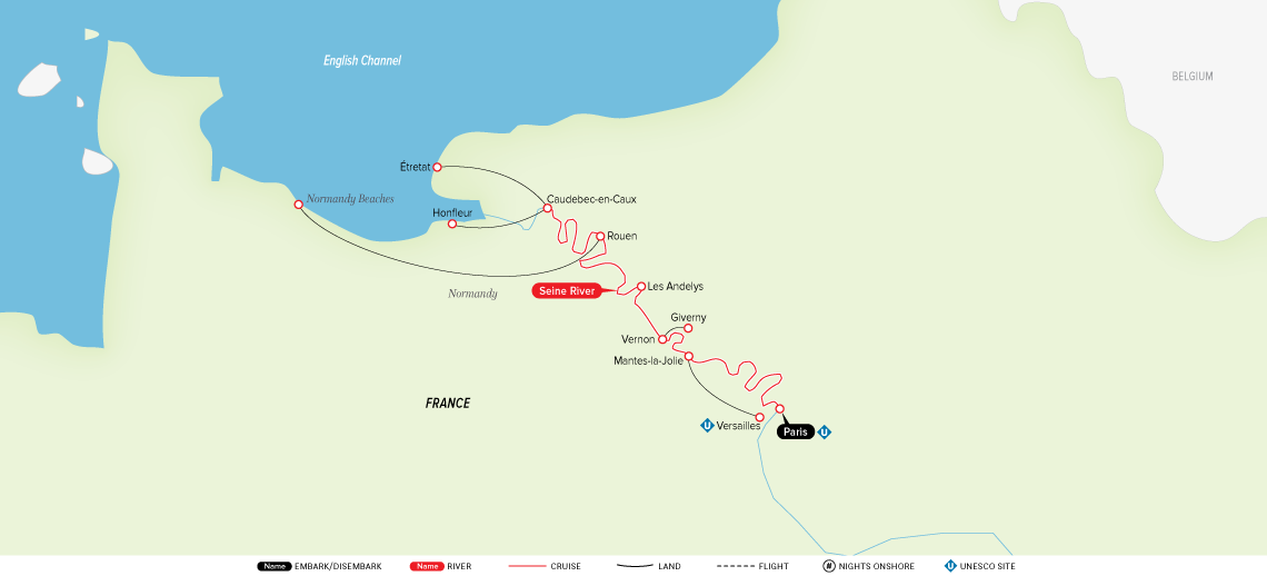 Map for Paris & Normandy 2019 (Round Trip from paris)