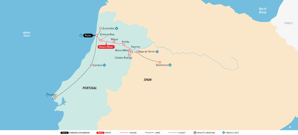 Map for Portugal, Spain & the Douro 2019 (Lisbon to Porto)