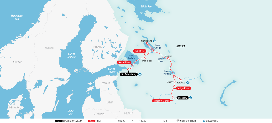 Map for Imperial Waterways of Russia 2019 (Moscow to Saint Petersburg)