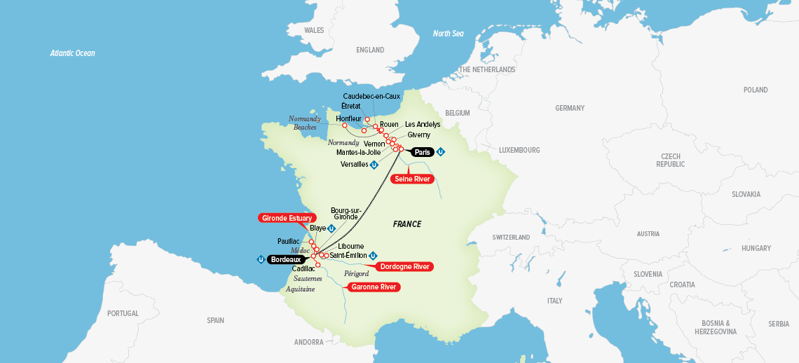 Itinerary map of A Portrait of Majestic France 2018 (Paris to Bordeaux)