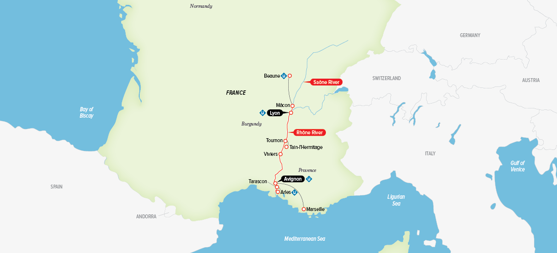 Itinerary map of Burgundy & Provence 2018 (Avignon to Lyon)
