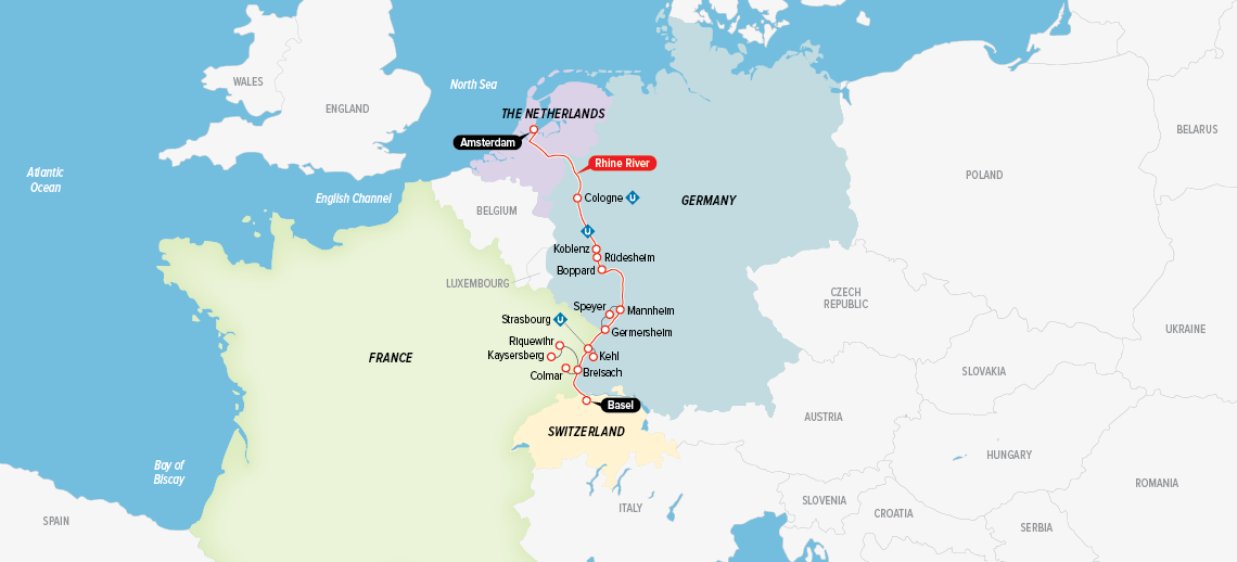 Itinerary map of Castles along The Rhine 2018 (Amsterdam to Basel)
