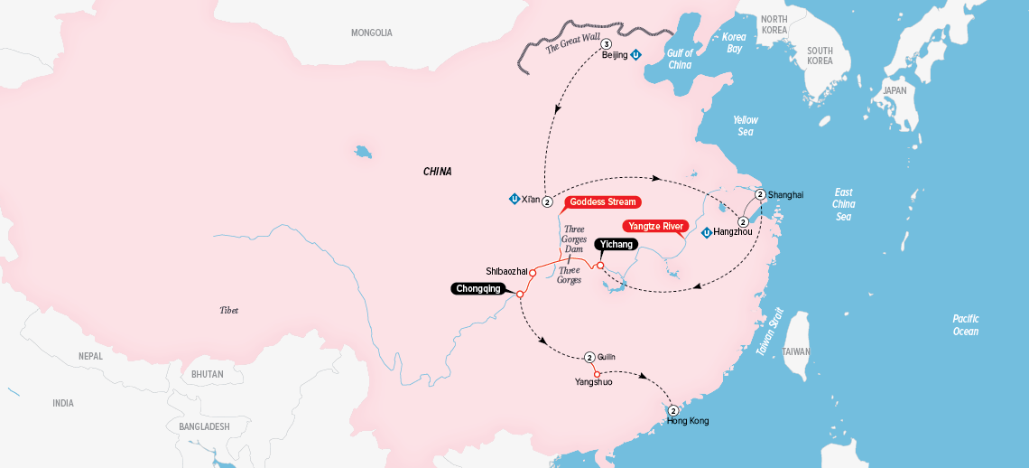 Itinerary map of Grand China and the Yangtze 2018 (Beijing to Hong Kong)