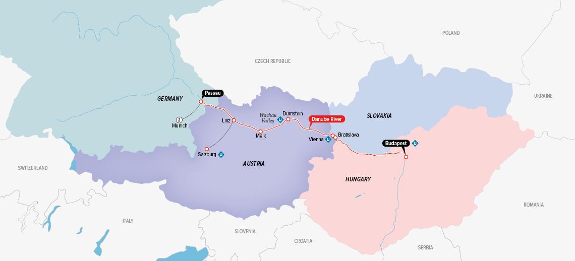 Itinerary map of Enchanting Danube & Munich 2018 (Munich to Budapest)