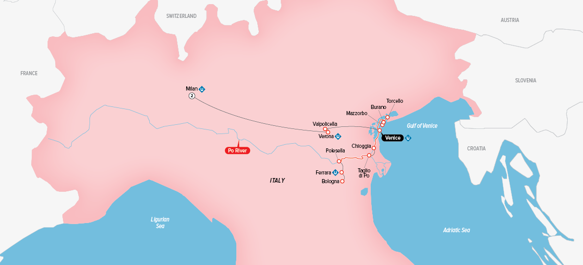 Itinerary map of Gems of Northern Italy 2018 (Milan to Venice)
