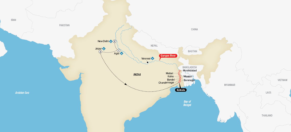 Itinerary map of India