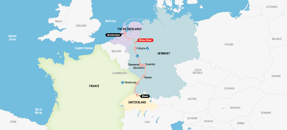 Itinerary map of Remarkable Rhine 2018 (Basel to Amsterdam)