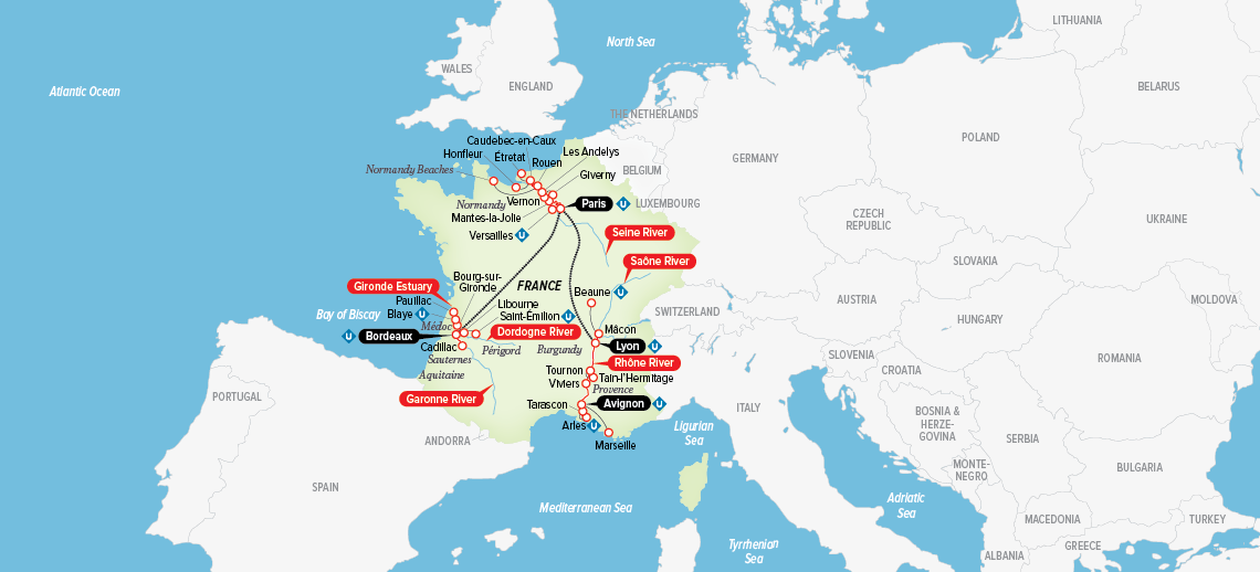 Itinerary map of Ultimate France 2018 (Bordeaux to Avignon)