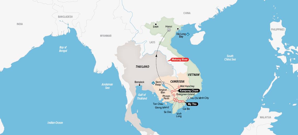 Itinerary map of Timeless Wonders of Vietnam 2018 (Ho Chi Minh City to Hanoi)