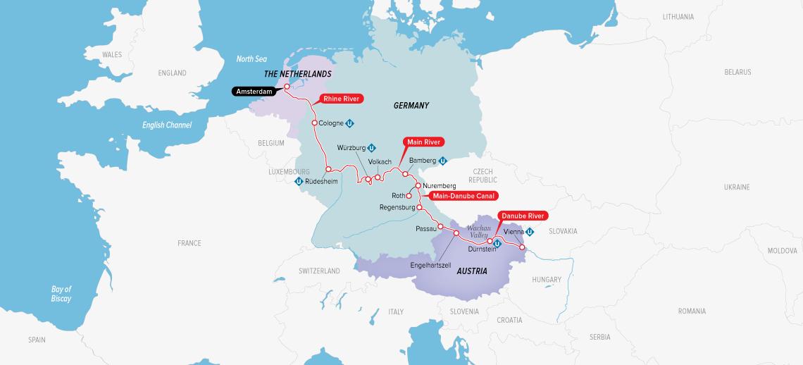 Itinerary map of Alluring Amsterdam & Vienna 2019 (Vienna to Amsterdam)