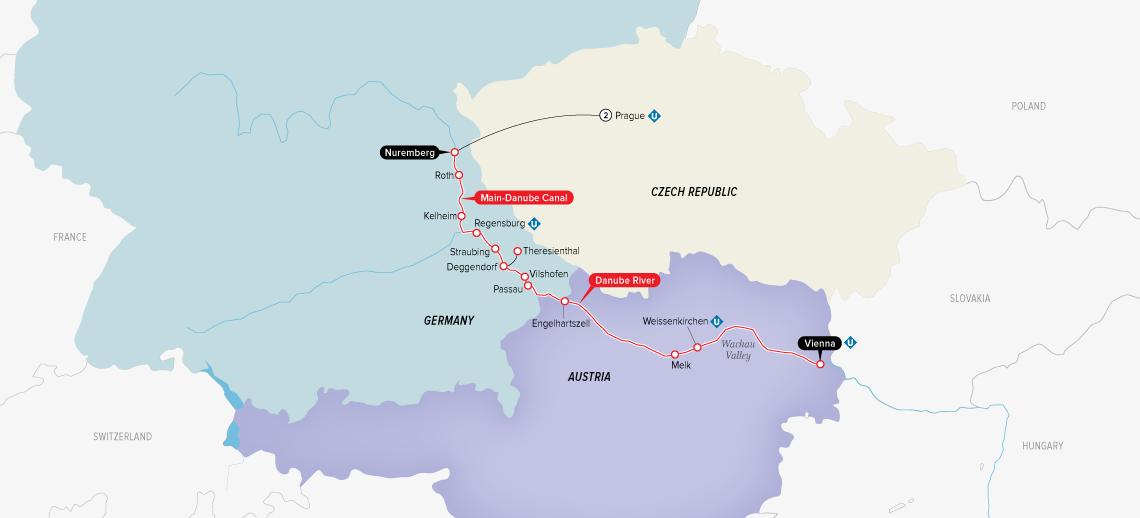 Itinerary map of Authentic Danube & Prague 2019 (Prague to Vienna)