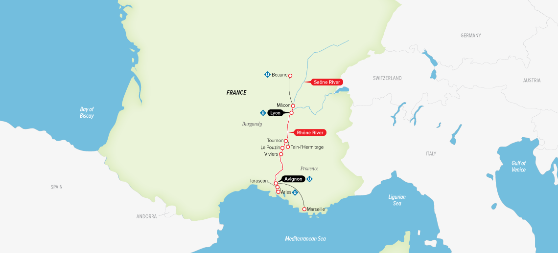 Itinerary map of Burgundy & Provence 2019 (Lyon to Avignon)