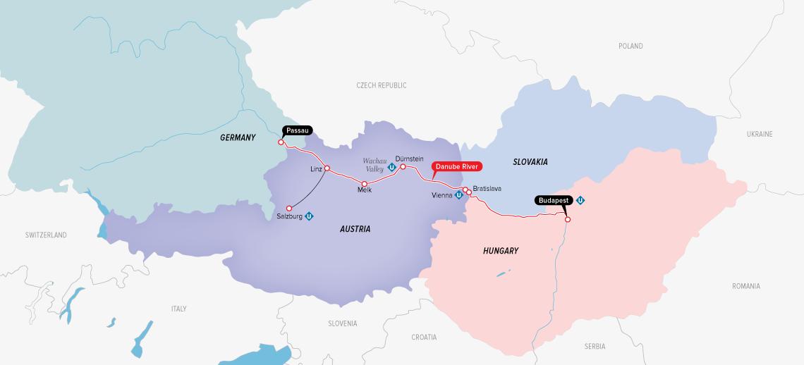 Itinerary map of Enchanting Danube 2019 (Passau to Budapest)