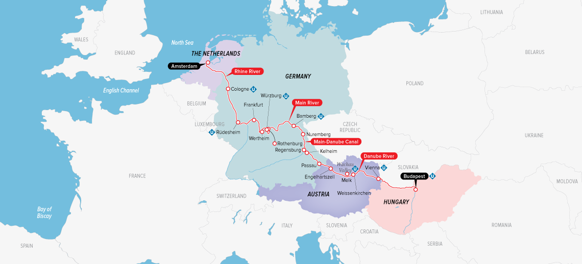 Itinerary map of European Jewels 2019 (Budapest to Amsterdam)