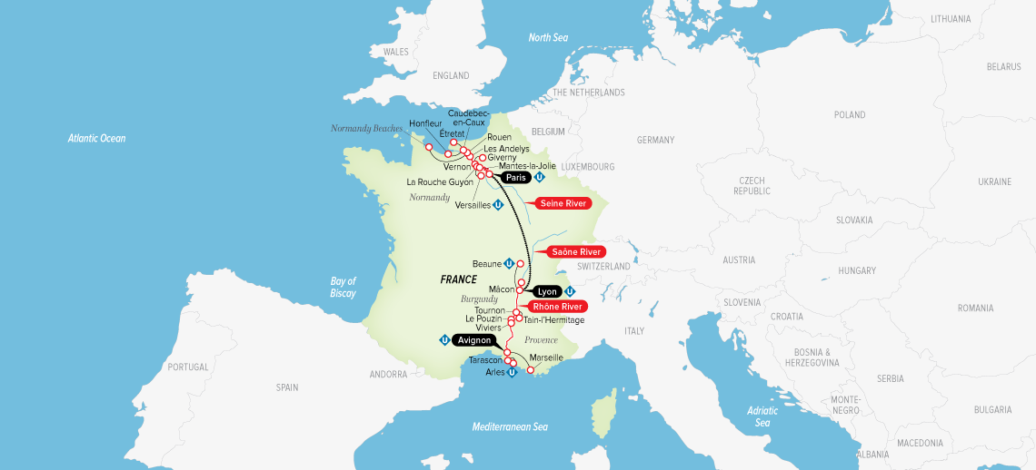 Itinerary map of Grand France 2019 (Paris to Avignon)