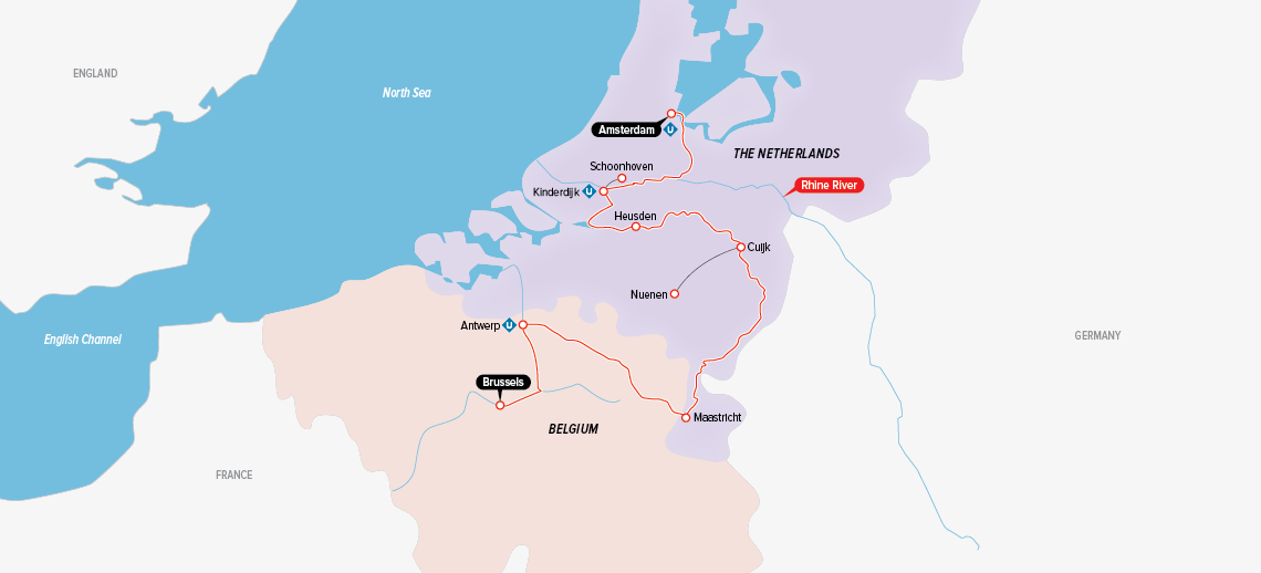 Itinerary map of Holland & Belgium at Tulip Time 2019 (Brussels to Amsterdam)