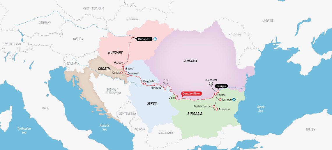 Itinerary map of Highlights of Eastern Europe 2019 (Bucharest to Budapest)