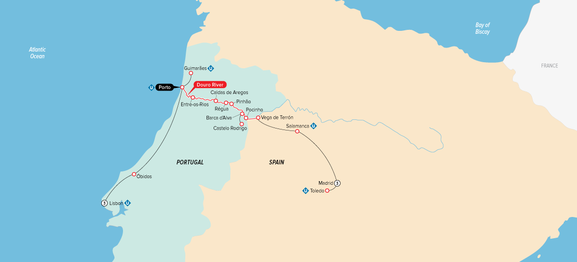 Itinerary map of Jewels of Spain, Portugal & the Douro River 2019 (Madrid to Lisbon)