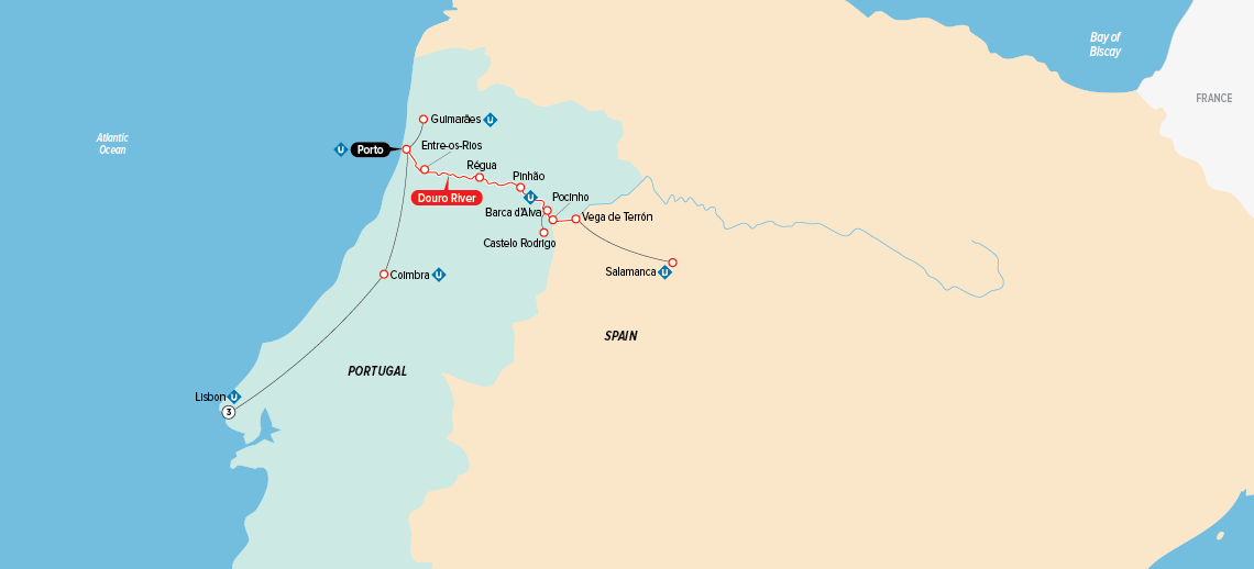 Itinerary map of Portugal, Spain & the Douro 2019 (Lisbon to Porto)