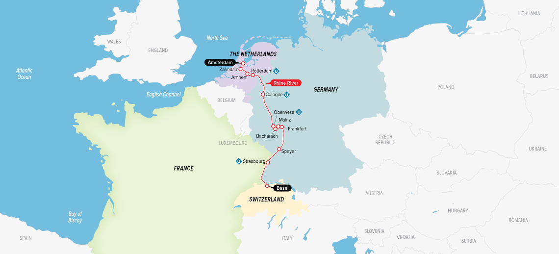 Itinerary map of Remarkable Rhine & Historic Holland 2019 (Basel to Amsterdam)