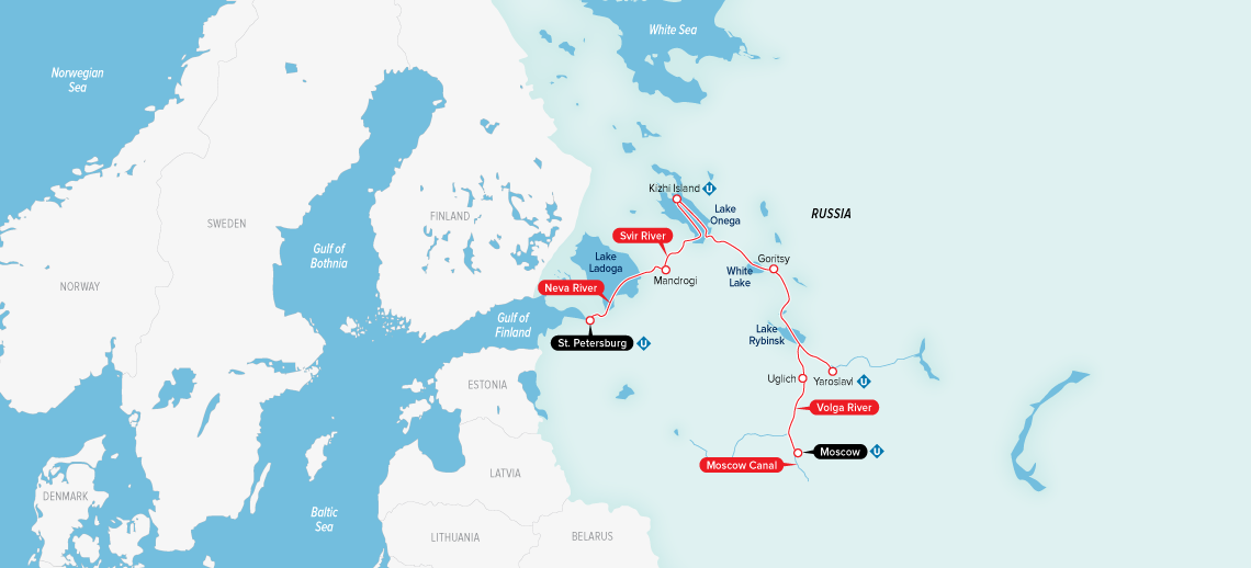 Itinerary map of Imperial Waterways of Russia 2019 (Moscow to Saint Petersburg)
