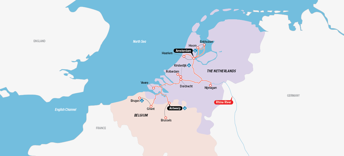 Itinerary map of Tulips & Windmills 2019 (Antwerpen to Amsterdam)