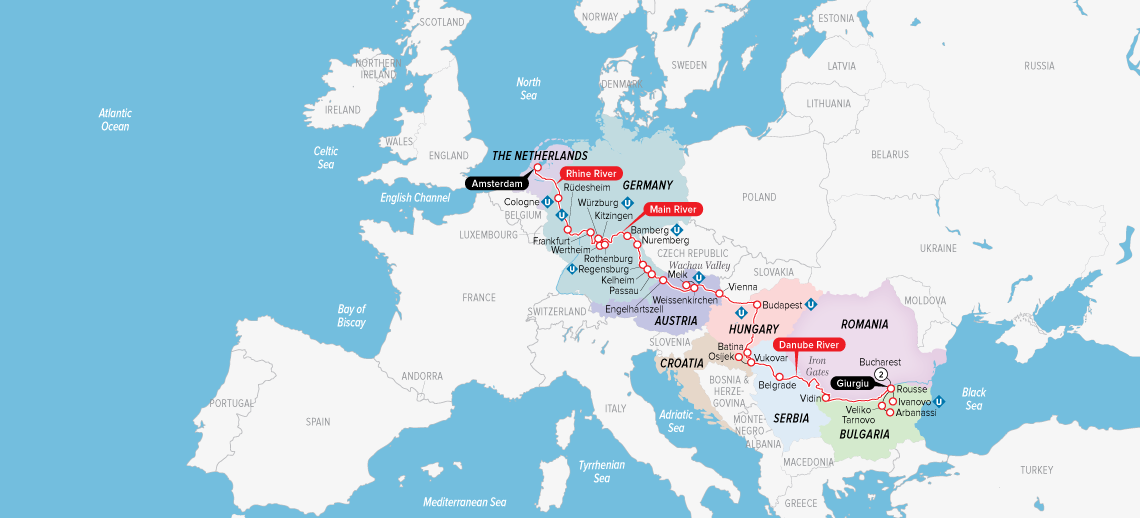 Itinerary map of Ultimate European Journey 2019 (Bucharest to Amsterdam)