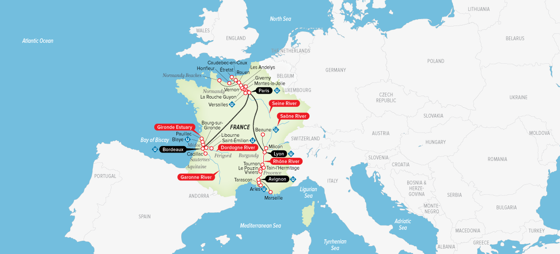 Itinerary map of Ultimate France 2019 (Bordeaux to Avignon)