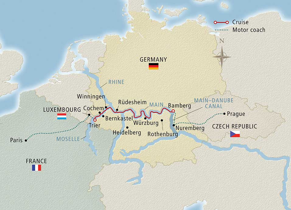 Itinerary map of Cities of Light Paris to Prague