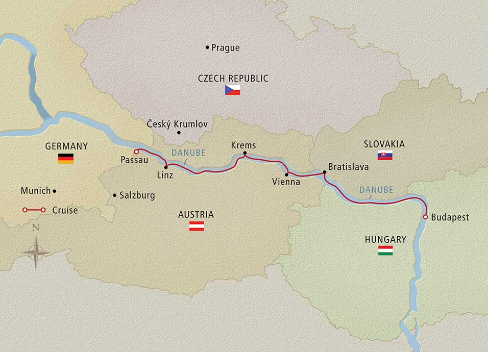 Itinerary map of Danube Waltz Budapest to Passau