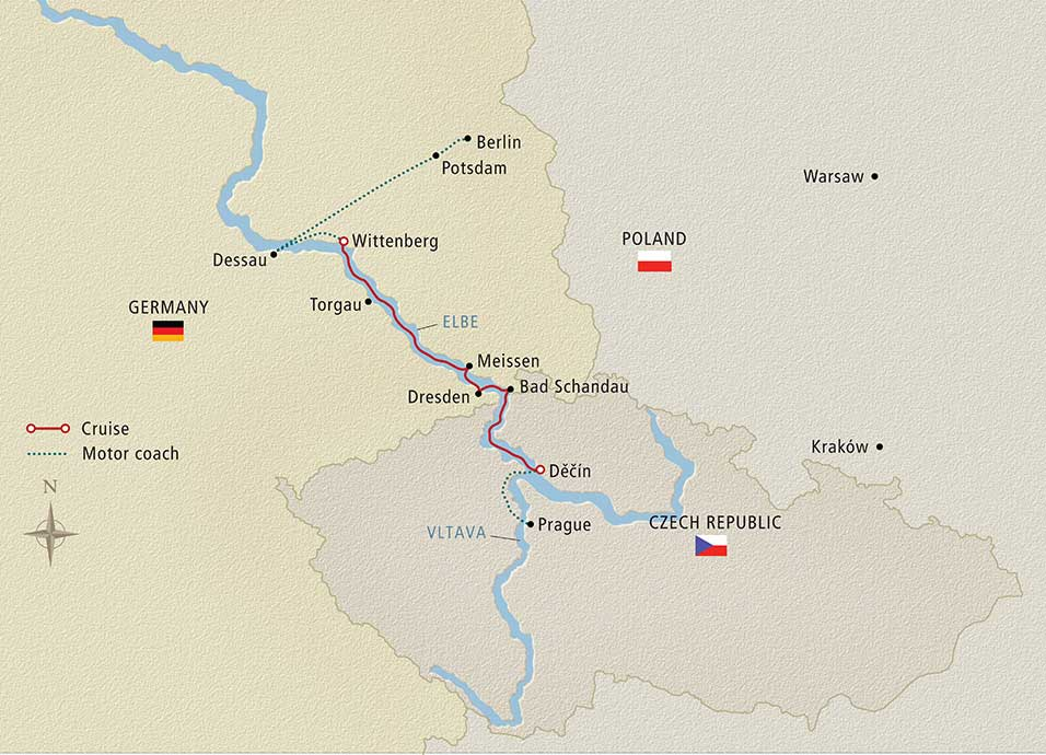 Itinerary map of Elegant Elbe Berlin to Prague
