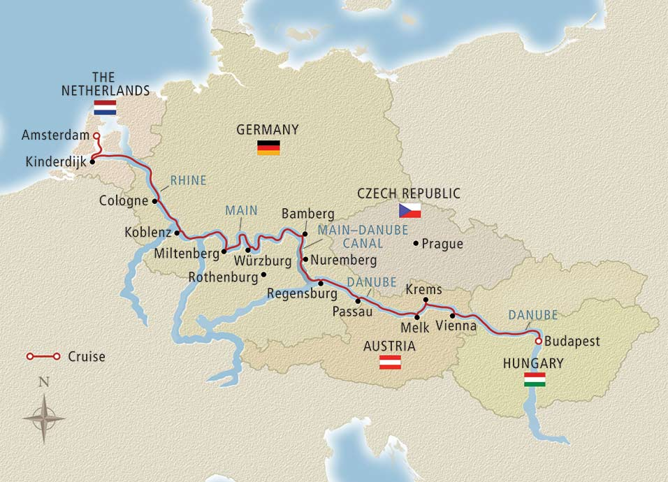 Itinerary map of Grand European Tour Budapest to Amsterdam