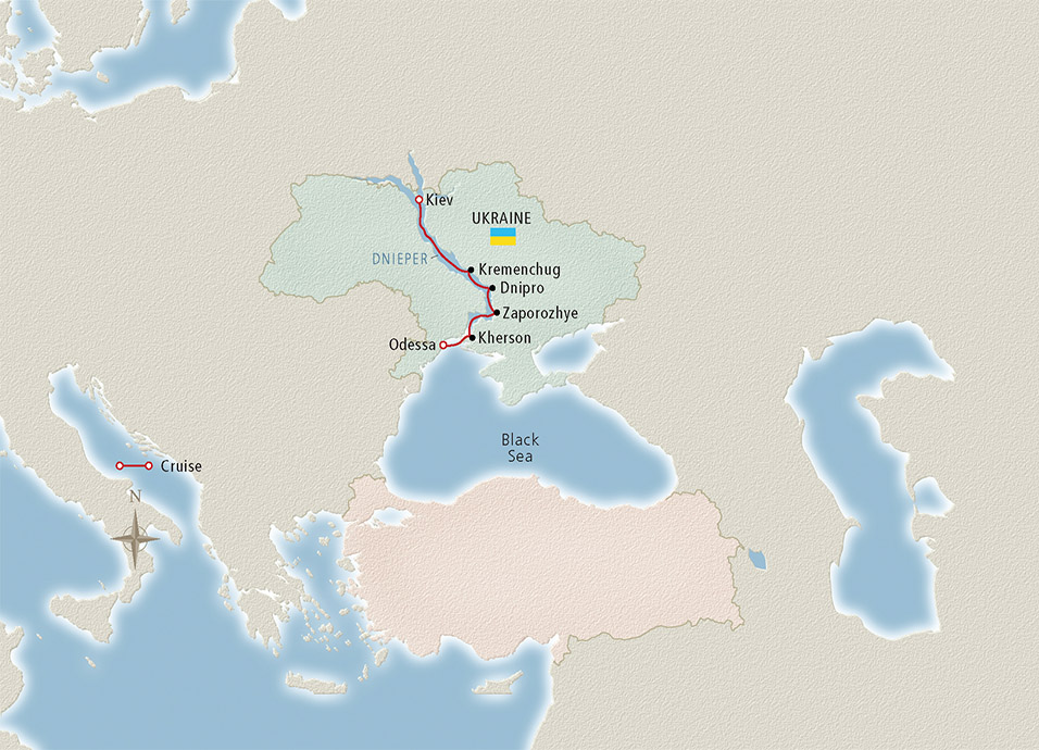 Itinerary map of Kiev to the Black Sea Odessa to Kiev