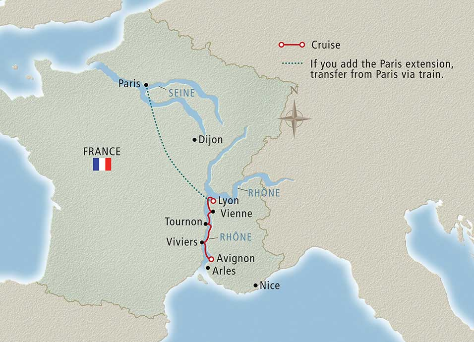 Itinerary map of Lyon & Provence Lyon to Avignon
