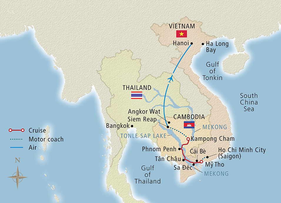 Map for Magnificent Mekong Hanoi to Ho Chi Minh City